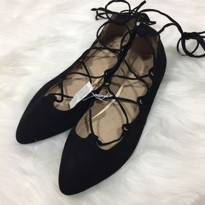 NWT Old Navy Tie Lace Up Black Pointed Toe Flats